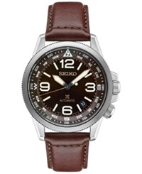 Seiko Men's Prospex Automatic Brown Leather Strap Watch 42Mm Srpa95
