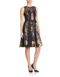 Teri Jon Printed Lace Pintuck Dress Black Multi