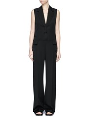 Stella Mccartney Sleeveless Wool Tuxedo Jumpsuit Black