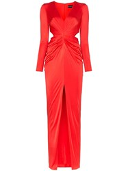 Haney Erin Deep V Cut Out Maxi Dress Red