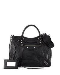 Balenciaga Classic Nickel Velo Aj Leather Bag Black