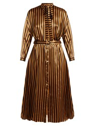 Nina Ricci Tie Neck Striped Silk Satin Dress Brown Print