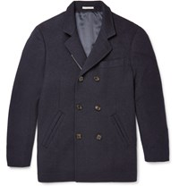 Brunello Cucinelli Double Breasted Wool And Cashmere Blend Peacoat Blue