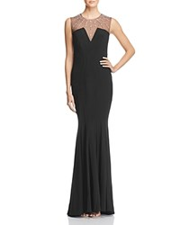 Dylan Gray Embellished Illusion Detail Gown Black Silver