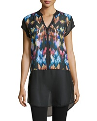 Neiman Marcus Abstract Chevron Print Colorblock Tunic Xs
