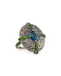 Engraved Silver Cross Ring With Topaz And Chrome Diopside Stephen Dweck Grey