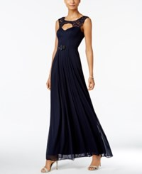 Betsy And Adam B A By Illusion Trim Cutout Gown Navy