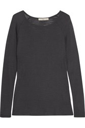Halston Heritage Modal Blend Jersey Top Charcoal