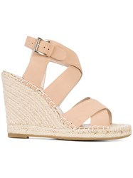 Joie Kaelyn Wedged Sandals Women Leather Rubber 6.5 Nude Neutrals