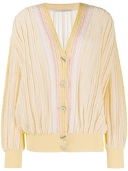 Marco De Vincenzo V Neck Cable Knit Cardigan Yellow