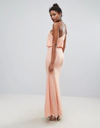 Club L Cross Back Maxi Dress Peach Pink