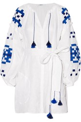 March11 Gutsul Belted Embroidered Linen Mini Dress White
