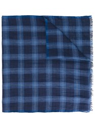 Corneliani Checked Scarf Men Silk Linen Flax One Size Blue