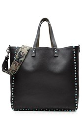 Valentino Reversible Leather Tote With Studded Trim Black