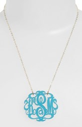 Women's Moon And Lola Large Oval Personalized Monogram Pendant Necklace Turquoise Gold Nordstrom Exclusive