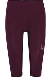Lucas Hugh Woman Cropped Printed Stretch Leggings Claret