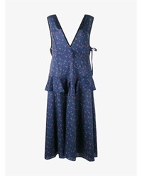 Sandy Liang Sleeveless Cooper Dress With Floral Print Navy Red Green Rose White
