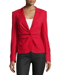 Escada Long Sleeve Ruched Front Blazer Lacquer