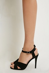 Forever 21 Faux Suede Ankle Strap Pumps Black