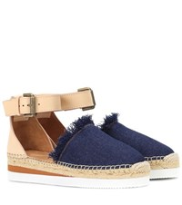 See By Chloe Denim And Leather Espadrilles Blue