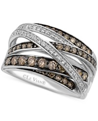 Le Vian White 1 6 Ct. T.W. And Chocolate 3 4 Ct. T.W. Diamond Crossover Ring In 14K White Gold