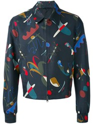 Salvatore Ferragamo Printed Jacket Men Silk Cotton Cupro 52 Blue