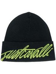 Just Cavalli Logo Embroidered Beanie Hat Black