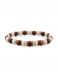 Belpearl 14K Multicolor Freshwater Button Pearl Stretch Bracelet Chocolate Mix