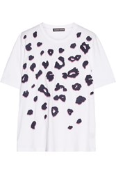 Markus Lupfer Alex Embellished Embroidered Cotton Jersey T Shirt White