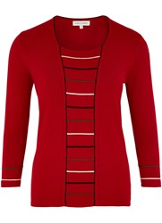 Austin Reed Rib Insert Jumper Red