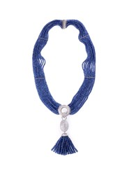 Lc Collection Diamond Sapphire 18K Gold Tassel Necklace Metallic