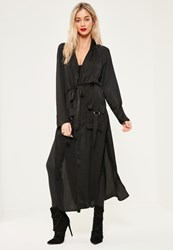 Missguided Tall Exclusive Black Hammered Satin Duster Jacket