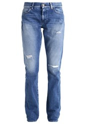 7 For All Mankind Relaxed Fit Jeans Selvedge Bright Blue Denim