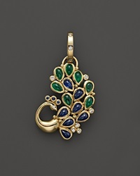 Temple St. Clair 18K Yellow Gold Peacock Pendant With Blue Sapphire Emerald And Diamond