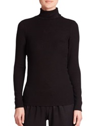 Three Dots Ribbed Turtleneck Black