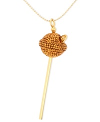 Sis By Simone I Smith 18K Gold Over Sterling Silver Necklace Medium Yellow Crystal Lollipop Pendant