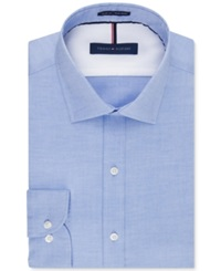 Tommy Hilfiger Slim Fit Non Iron Soft Wash Solid Dress Shirt Blue