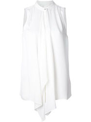 Michael Michael Kors Draped Front Sleeveless Blouse White