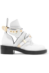Balenciaga Buckled Cutout Leather Ankle Boots White