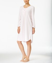 Miss Elaine Embroidery Trimmed Knit Nightgown Pink