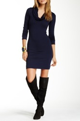 Go Couture Cowl Neck Sweater Dress Blue