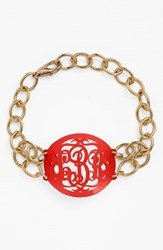 Women's Moon And Lola 'Annabel' Medium Oval Personalized Monogram Bracelet Ruby Gold Nordstrom Exclusive