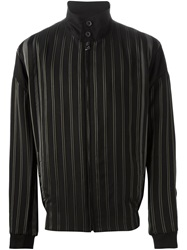 Lanvin Striped High Standing Collar Jacket Black