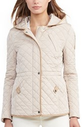 Lauren Ralph Lauren Women's Faux Leather Trim Quilted Anorak Cream