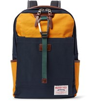 Master Piece Link Leather Trimmed Colour Block Nylon Backpack Navy