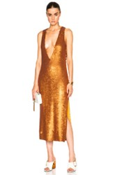 Prabal Gurung Dusted Paillette Embroidered Dress In Metallics Brown