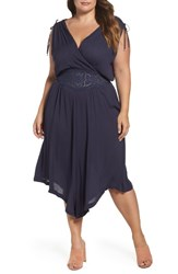 Wit And Wisdom Plus Size Women's Embroidered Faux Wrap Dress Navy