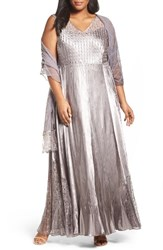 Komarov Plus Size Women's Lace Up Back Ombre Gown And Shawl