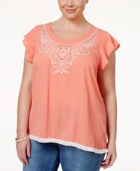 Eyeshadow Plus Size Embroidered Fringe Top Burntglass