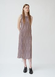Eckhaus Latta Cinch Dress Peach And Purple Stripe